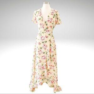 LuLu's Yellow Floral Wrap Maxi Ruffle Dress